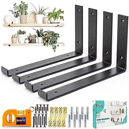L Shape Shelf Brackets with Lip for 11.25 Inch Shelves - Set of 4, for DIY Floating Shelves in Rustic Industrial Farmhouse Style - Hardware Included - Plus Magnetic Level - Black