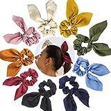 Paquete de 9 gomas para el pelo con diseño de orejas de conejo y coleta de gasa para el cabello, suave, elegante, elásticas, 9 colores
