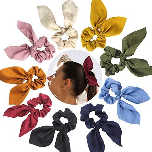 Paquete de 9 gomas elásticas para el pelo, diseño de orejas de conejo, lazo de gasa para coleta de caballo titular de bollas suaves y elegantes, bandas elásticas para el pelo, 9 colores