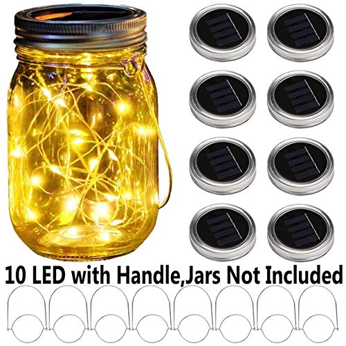 No-branded NDMCC 8pcs Solar LED String Light for Mason Jar Lid Insert Color Changing Garden Waterproof Decorations Garland (Emitting Color : Warm White, Size : Free)