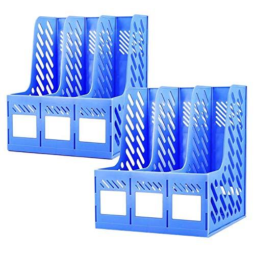 Portadocumenti da Scrivania Verticale Liuer 2PCS Organizer Scrivania Ufficio in Plastica Organizzatore Portadocumenti per Riporre Documenti,Cartelline,Giornali(Blu,3 Intervalli)