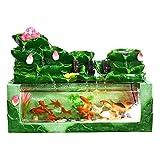 Fuente Interior Fuente de escritorio y ternia de pescado Decoración interior apilada Lotus hoja Pescado Estanque Fuente de agua Humidificación Paisaje natural Arte Decoración del hogar, Verde Fuente d