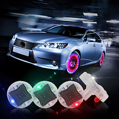 CARLITS Car Tire Wheel Lights, 4pcs Car Wheel Tire Air Valve, Hub Lamp Cap Light with Motion Sensors Colorful LED Tire Light Gas Nozzle,for Car Bicycle Motorcycles Accessories