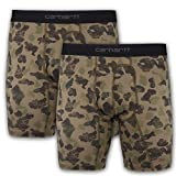 Carhartt Men's 8' Inseam Cotton Polyester 2 Pack Boxer Brief, Duck Camo, L
