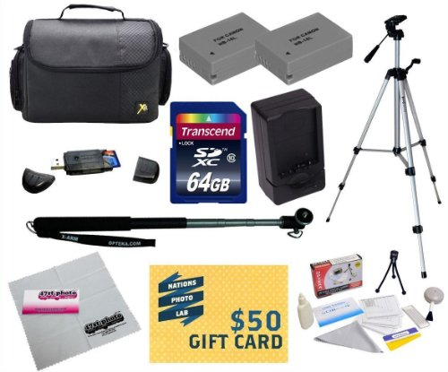 """47th Street Photo Best Value Point & Shoot Ultimate Accessory Kit for Canon PowerShot G15 G16 G1 X Digital Camera Includes 2 Extended Replacement NB-10L Battery + AC/DC Travel Charger + Self Portrait Monopod + 54"""" Compact Professional Photo / Video Tripod + Mini tripod + 64GB Transcend High Speed Error Free SDHC Memory Card + USB 2.0 Card Reader + Deluxe Carrying Case + Screen Protectors Photo Print ! Deluxe Cleaning Kit + More"""