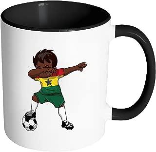 Dabbing Soccer Boy Ghana Ghanaian Accra Gifts National Soccer Tournament Game 11oz Black & White Coffee Mug ~ Both Sides Printed