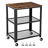 VASAGLE Serving Cart Trolley, Industrial Kitchen Rolling Utility Cart, Heavy Duty Storage Organiser, Wheels,...