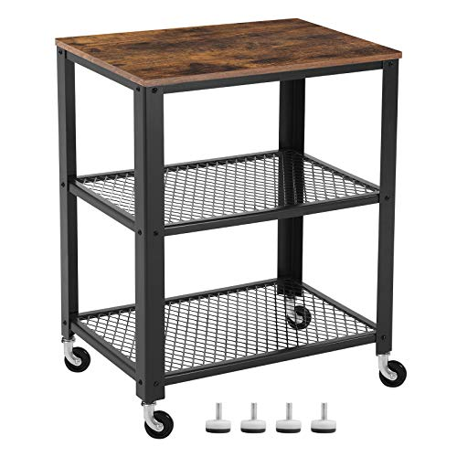 VASAGLE serveerwagen in industriële uitvoering, keukenwagen, wagen op wielen, keukenplank, in hout en metaal, op 4 wielen, 3 niveaus voor keuken en woonkamer, vintage, donkerbruine LRC78X