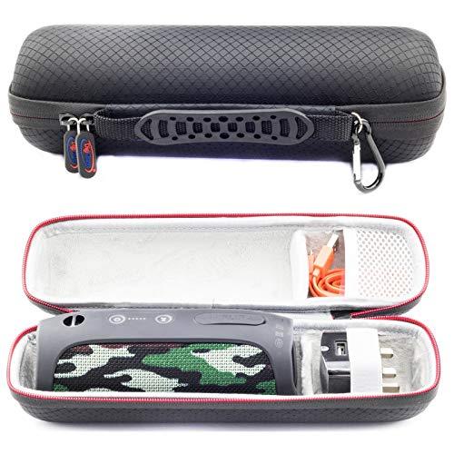 Funda de Transporte Rígido para JBL Flip Essential Flip 5 Flip 4 Flip 3 / JBL Tuner/Ultimate Ears Boom 2 Altavoz Bluetooth portátil. Compatible con Cable USB y Cargador de Pared-Negro