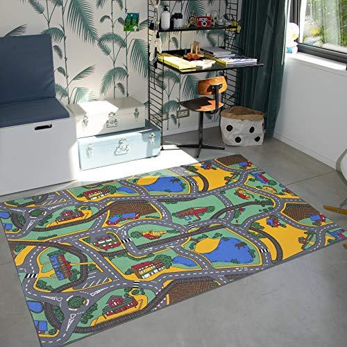 Carpet Studio Teppich Kinderzimmer 140x200cm, Spielteppich Straße Jungen & Mädchen für Schlafzimmer & Spielzimmer, Antirutsch, 30°C waschbar - Playtime