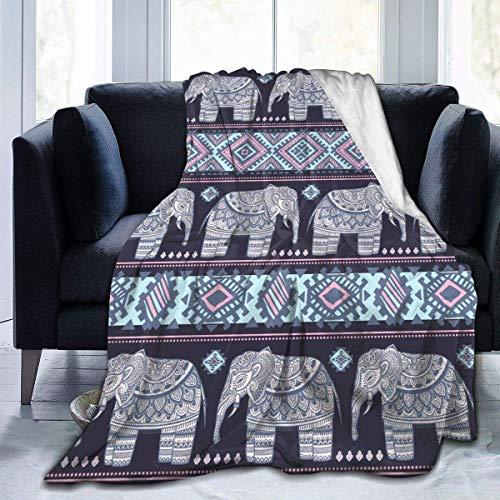 Manta de elefante de mandala marrón súper suave de franela mullida, ligera, cálida y transpirable para yoga, camping, picnic, cine, viajes, playa, 127 x 152 cm