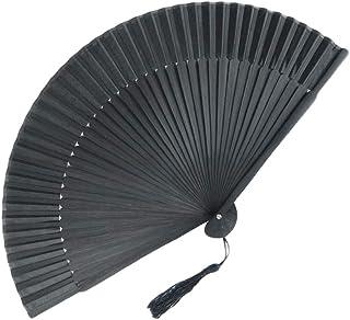 Vosarea Abanico plegable negro abanico manual de seda Abanico plegable de madera de bambú Abanico chino tradicional con mango de tela y mantel para la decoración doméstica