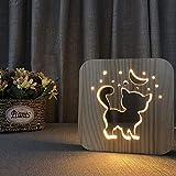 CQBKLXJY Hölzernes Nachtlicht-niedliches Tier 3D Lampe USB-Energie-Dekorations-Nachttisch...