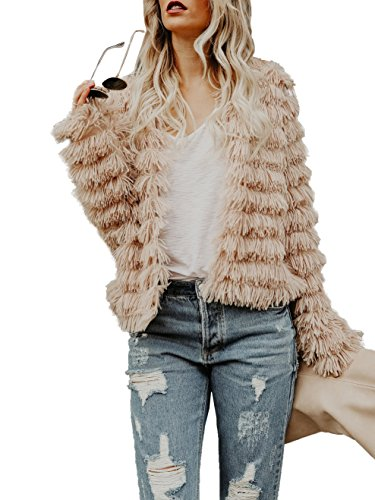 Lovaru Womens Coat Long Sleeve Open Front Parka Shaggy Faux Fur Coat Jacket Parka, Large, Coffee