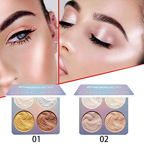 Freeorr 2 Stück Highlighter Palette, Baking Highlighter Bronze-Puder, Langlebige Wasserdichte Glow Bronzer Highlighter Powder Kit-8 Farben