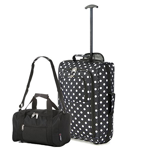 5 Cities Set of 2 Ryanair Cabin Approved Hand Luggage Set Main and Second Hand Luggage Set, 55x35x20cm, 42L, 35x20x20, 14L - Set Carry On Both! (Polka Black/Black)