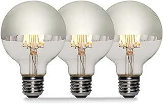 3 Pack - Modvera 60w Equivalent LED Half Chrome G25/G80 6W Silver Bowl Globe Shape Medium (E26) Base Warm White 2700K, 630 Lumens, Dimmable LED Filament Vintage Bulbs.UL Listed RoHS Compliant