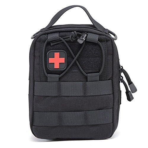 Tracffy EMT Premiers Secours Utilitaire Poche Compact Tactique Molle Medical kit Sac 1000 D pour la Maison de Voiture en Plein Air Lieu de Voyage Voyage (Noir)