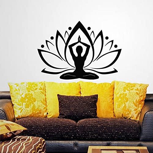 Calcomanía de pared de flor de yoga de flores bohemias indio patrón de pared calcomanías dormitorio yoga estudio yoga etiqueta extraíble DIY arte decoración mural arte pared decoración del hogar lh262
