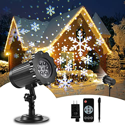 Christmas Projector Lights Outdoor, B-right Upgraded Rotating Snowfall Projection with Remote Timer Waterproof Clearer LED Christmas Snowflake Projector Lamp for Xmas Party Holiday House Decoration