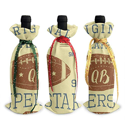 Football Quarterback Superstar 3Pcs Christmas Wine Bottle Cover Holiday Red Wine Bags Wine Gift Bags Champagne Bags Party Christmas Decorations Hotel Bar Kitchen Table Decor