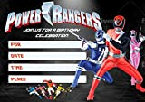 Power Rangers Invitation Cards – 20 Fill-in Invites for Kids Birthday Bash and Theme Party, 10X15 cm, Postcard Style…