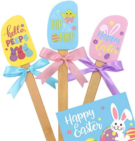 Easter Silicone Spatula Set with Colorful Ribbon Bows Happy Easter Gift Card for Spring Holiday product image
