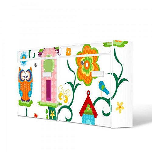 Burg Wächter Briefkastenanlage doppelt | 2 Briefkästen 72cm x 32cm x 10cm groß | Stahl weiß verzinkt mit Namensschild | Doppelbriefkasten 2 Schlüssel | Motiv Eulenfamilie