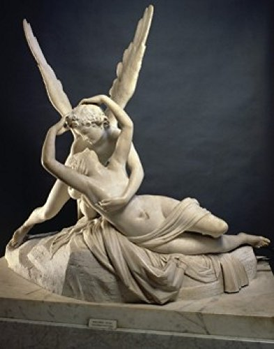Posterazzi Cupid and Psyche Antonio Canova Marble Sculpture Musee du Louvre Paris Poster Print, (8 x 10)