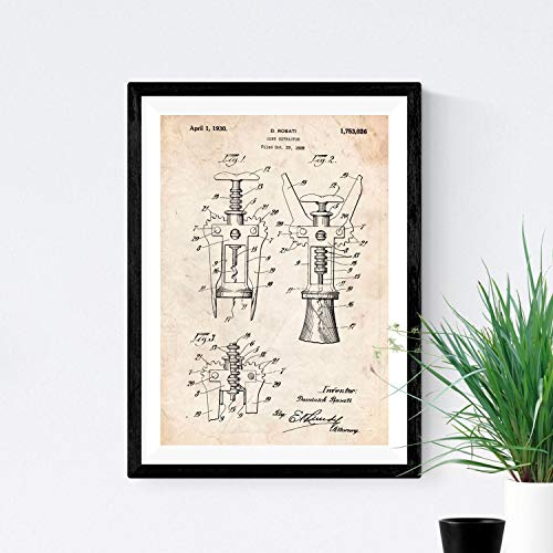 Nacnic Stampa artisticha Vintage Brevetto cavatappi manifesti con invenzioni e Vecchi brevetti. 250 Grammi di Alta qualità. Poster Vintage, Disegni, brevetti, invenzioni Famosi Disegni.