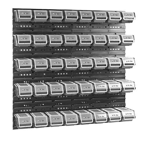 40 stck. Box mit Deckel + Wandregal 80 x 80 cm, Stapelboxen Schüttenregal Sichtlagerkästen Lagersystem (SCHWARZ)