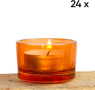 Chive - Orange Glass Tealight Candle Holder, 24 Bulk Pack Set for Weddings, Parties, Events and Home Decor Tea Light