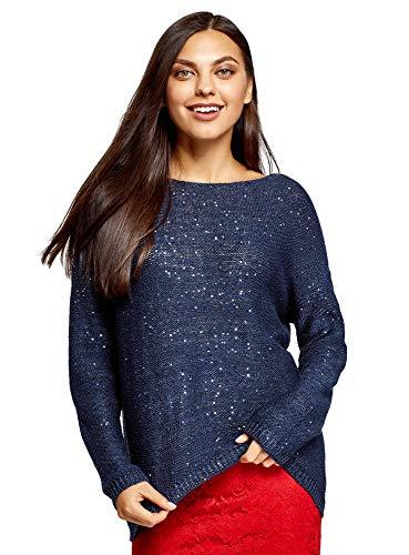 oodji Ultra Mujer Jersey de Punto con Lentejuelas, Azul, ES 34 / XXS (Ropa)