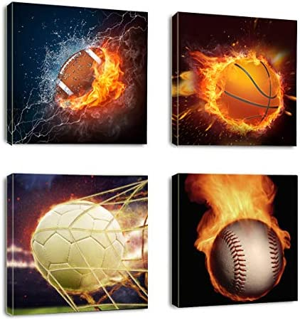 Canvas Art Sports Themed Soccer Football Baseball Basketball on Fire Rustic Canvas Framed for product image