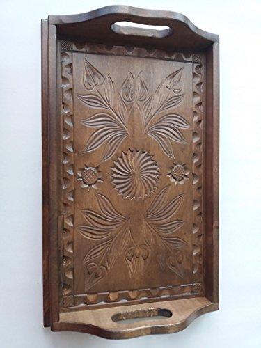 Nueva marrón pequeño madera hermosa de arce natural mano tallada bandeja, bandeja, plato...