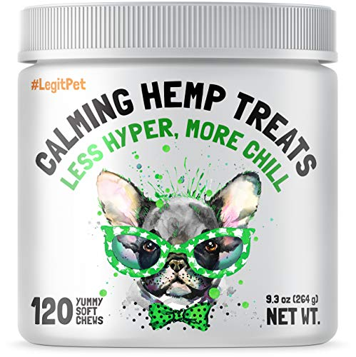 Calming Hemp Treats For Dogs - Made in USA with Organic Hemp - Dog Anxiety Relief - Natural Separation Aid - Helps with Barking, Chewing, Thunder,...