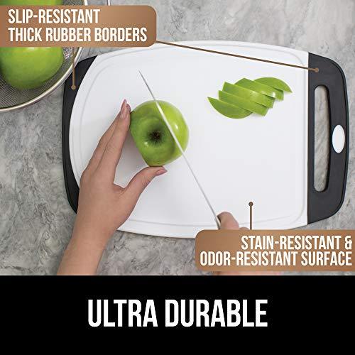 GOR   ILLA GRIP Original Oversized Cutting Board, 3 Piece, BPA Free, Dishwasher Safe, Juice Grooves, Larger Thicker Boards, Easy Grip Handle, Non Porous, Extra Large, Kitchen, Set of 3, Gray