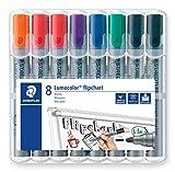 Staedtler Lumocolor 356 WP8X Flipchart-Marker (Rundspitze ca. 2 mm Linienbreite, Set mit 8 Markern,...