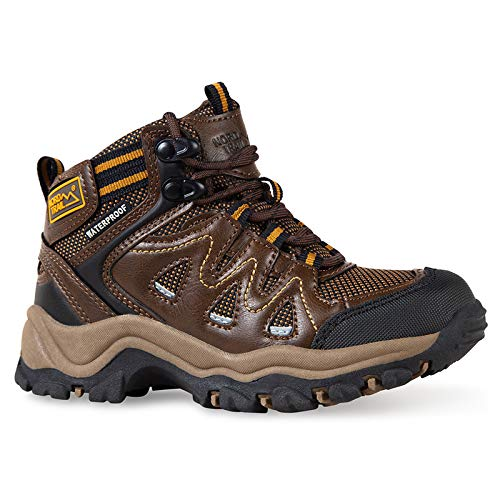 Nord Trail Big Bear Kids Hiking Boots - Dark Brown Faux Leather Boot - 4