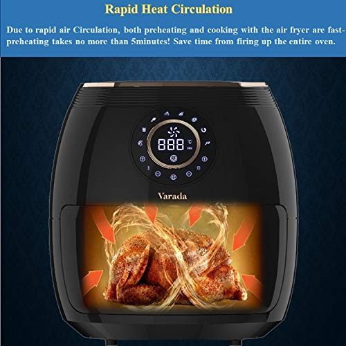 VARADA Max Air fryer 6.5 liter large capacity with 3D rapid hot air circulation technology with beautiful touch panel display 1800 watt power Large size Tong absolutely free (Black)