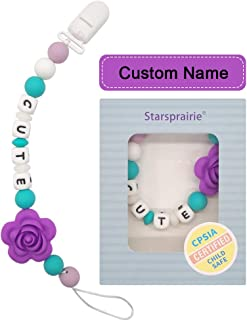 Custom Pacifier Clip Baby Teething Toys Personalized Name Pacifier Holder BPA Free Silicone Beads Binky Holder for Girl, Soothie,Mam, Shower Gift Flower (Purple)