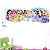 Kibi Adesivi Da Parete Principesse Disney Stickers Muro Principesse Disney Sfondo Muro, Adesivi Murali Principesse Rimovibili, Adesivi Muro Camera Da Letto Bambini Principesse