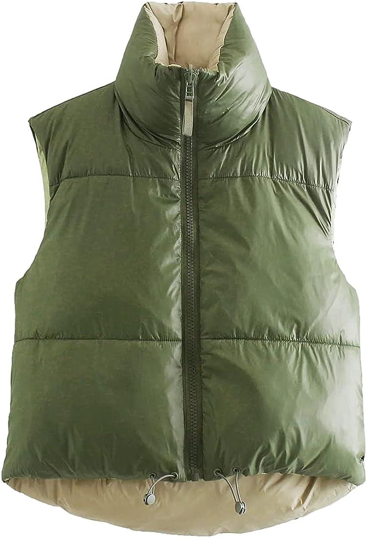 AMEBELLE Women's Reversible Puffer Vests Stand Collar Full Zip Crop Down Waistcoat