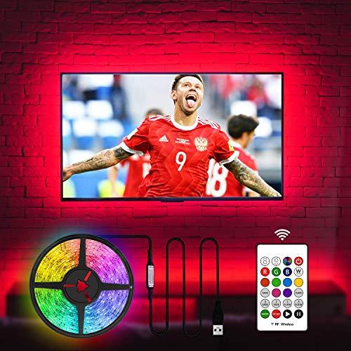 LED TV Hintergrundbeleuchtung für Fernseher 55 60 Zoll TV LED Streifen USB TV Backlight (60 Zoll, 20 Farben, RF Remote, 4m)