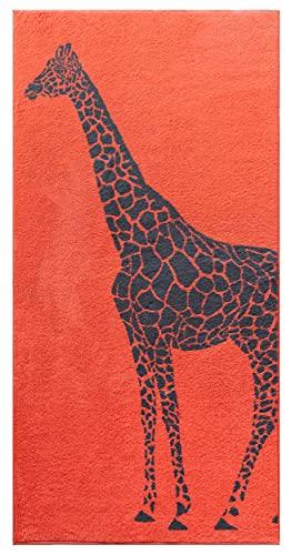 Lashuma Toalla de playa con diseño de jirafa, color rojo, de rizo, 75 x 150 cm, suave toalla para tumbarse