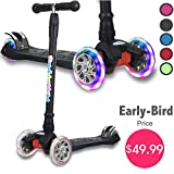 Kick Scooter for Kids, 4 Adjustable Height, Lean to Steer with PU...