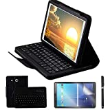 REAL-EAGLE Custodia Galaxy Tab E 9.6 Bluetooth Tastiera con Screen Protector & Stylus, Pelle PU Custodia con Wireless Staccabile Keyboard per Samsung Tab E 9.6 T560 / T561 / T565, Black
