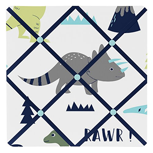 Sweet Jojo Designs Blue and Green Modern Dinosaur Fabric Memory/Memo Photo Bulletin Board