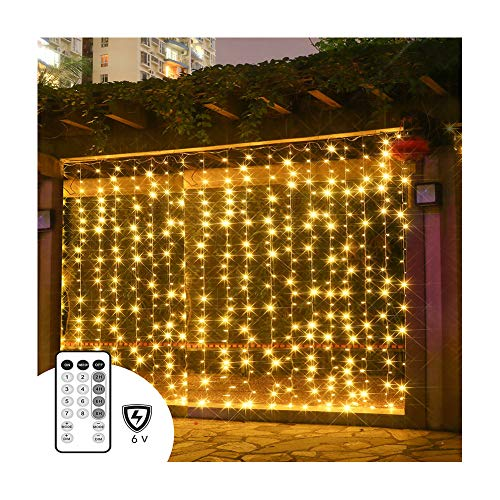 PopBabies Curtain Lights, Window Curtain Lights for Bedroom, Parties, Wedding 300 LEDs, Full Waterproof Curtain White Lights Outdoor, Multiple Strands Connectable RF Remote Low Voltage UL588 Listed