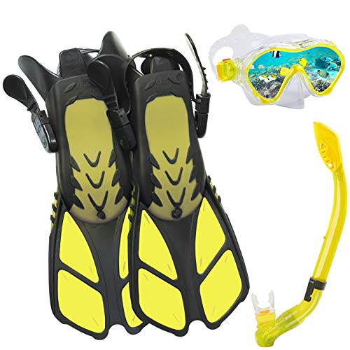 Ertong Children Snorkel Set Kids Scuba Diving Equipment Packages Including Adjustable Swimming Fins/Flippers  Automatic Breathing Tube  Tempered Glass Lens Snorkeling Mask Yellow